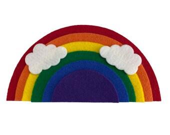Felt Rainbow with Clouds, Felt Board Rainbow Activity, Preschool Fine Motor Sensory Play, Rainbow Felt Toy, Rainbow Craft Kit for Kids