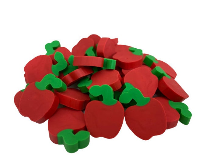 Pack of 30 Mini Apple Erasers for Kids, Classroom Rewards, Party Favors, Back to School, Games Prizes, Teacher Gift and School Supplies