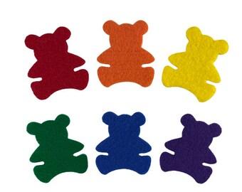 Felt Bear Shapes, Rainbow Felt Teddy Bears, Flannel Felt Board Shapes, Teddy Bear Math Counters, Preschool Counting Game, Color Sorting