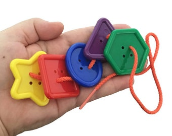 Button Lacing Toy for Preschool, Montessori Lacing Game, Toddler Busy Bag, Autism Fine Motor Activity, Button Sorting by Colors & Shapes