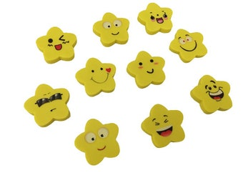 Pack of 10 Star Emoji Erasers for Kids, School Supply, Goody Bag Filler, Birthday Party Favors, Classroom Rewards, Stocking Stuffers
