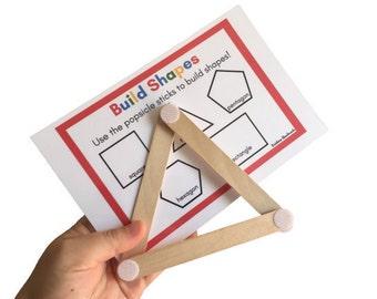Geometric Shapes Building Set - Craft Sticks with Fastener Dots - Motor Skills Toy - Montessori Math Activity - Kids STEM Building Toy