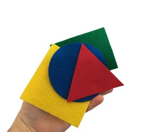 Felt Shapes Sorting Game for Toddlers, Large Basic Shapes for Kids, Preschool Shape Toy, Montessori Math Material, Learning Colors & Shapes