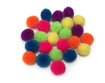 Pack of 12 Yarn Pom Poms Balls, 1 inch, Pom Pom for Kids Crafts, Counting Games, Sensory Bins Activities for Preschool, Pre-K, Kindergarten