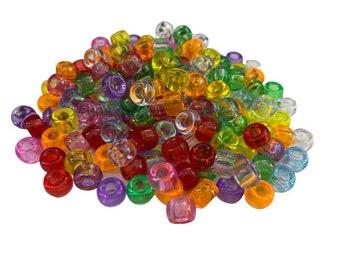 Translucent Pony Beads, Multicolor Jewelry Beads, Transparent Beads for School Crafts, Bracelets, Necklaces, Earrings, Lacing Activities