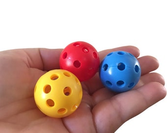 Pack of 9 Plastic Balls with Holes, 1 inch, Multicolor, Perfect for Busy Bags, Fine Motor Toys, Balls for Threading Game and Craft Projects