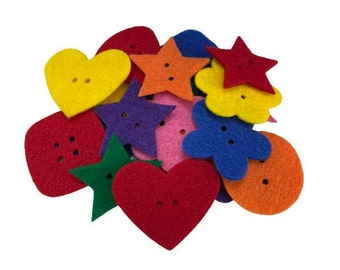 Pack of 35 Mixed Felt Buttons for Sorting, Preschool Math Counters for Felt Board Activities, Multicolor Felt Shapes Buttons for Crafts