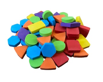 Pack of 60 Mini Geometric Shapes Eraser for Kids, Mini Erasers for Teacher Supplies, Goodie Bags, Sorting Games, Kids Craft Activities