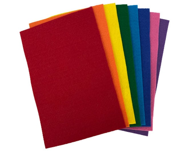 """Felt Sheets Sampler Pack, 8 pcs, 6""""X 9"""", Rainbow Colors, Thickness 2 mm, Eco-friendly Felt Pack for Classroom, Kids Crafts, School Projects"""