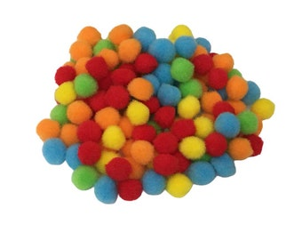 Pack of 75 Mini Pom Poms, 1 cm, Colorful Pompoms for DIY Projects, Kids Crafts Activities, Decorations, Preschool Sensory Bins, Scrapbooking