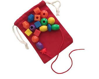 Preschool Lacing Toy, Bead Stringing Set, Montessori Fine Motor Activity, Busy Bag for Kids, Threading Toy, Lacing Beads for 3 - 4 year old