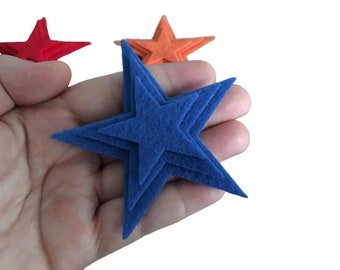 Pack of 18 Felt Stars in Rainbow Colors, 3 different sizes, Stars for Decorations, Arts and Crafts for Kids, Sewing, Scrapbook Embellishment