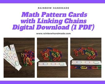 Math Pattern Cards With Linking Chains, Printable Activities, Homeschool Preschool Printables, Fine Motor Game for Kids, Pre-K, Kindergarten