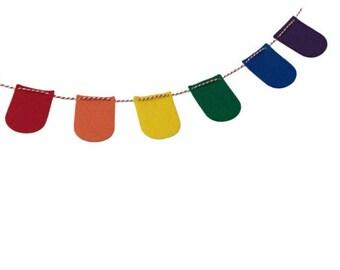 Mini Felt Rainbow Garland for Classroom, Nursery, Kids Bedroom and Playroom Decoration