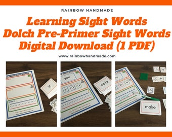 Sight Word Learning Set, Preschool Curriculum, High Frequency Words, Learn to Read & Write, Kids Printable Worksheets, Pre-K, Kindergarten
