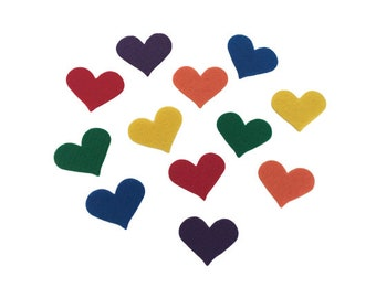 Felt Hearts, Multicolor, 1.25 inch, Perfect for Valentine Kids Crafts, Birthday Decorations, Party Favors, Art Projects, Scrap-booking