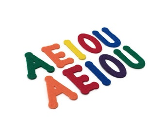 Felt Vowels, 2 inch, Vowels Material, Preschool Letter Crafts, Early Learning Games, Preschool Literacy Resources, Teaching Vowels