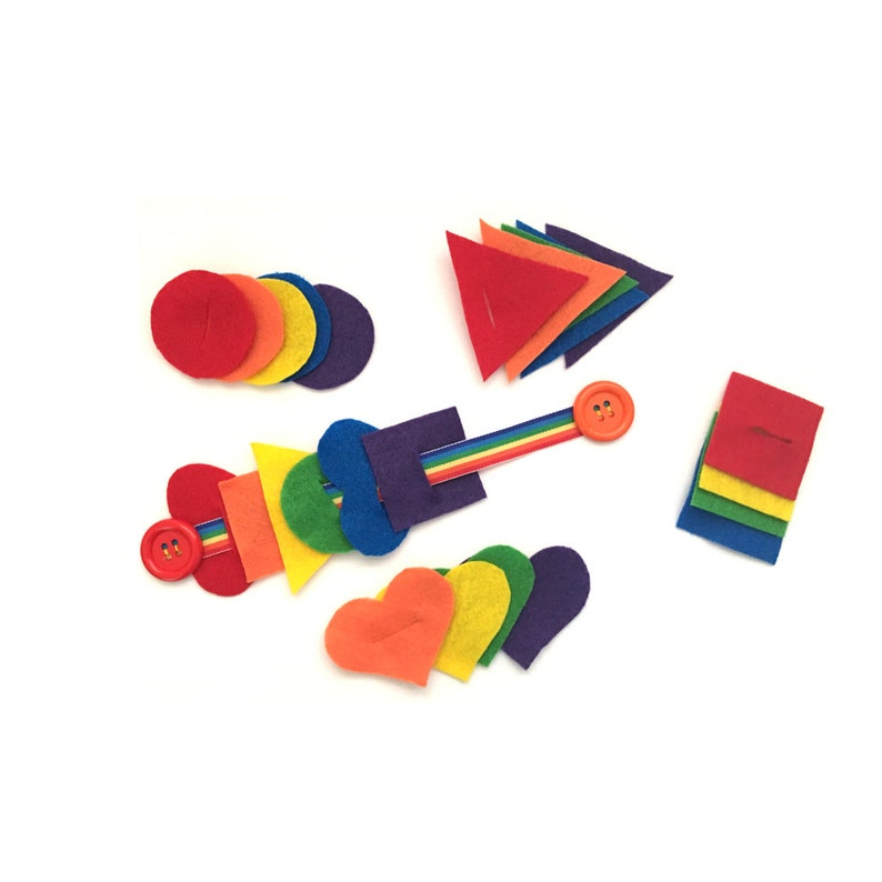 Rainbow Button Snake with Felt Shapes  Buttoning Activity for image 0