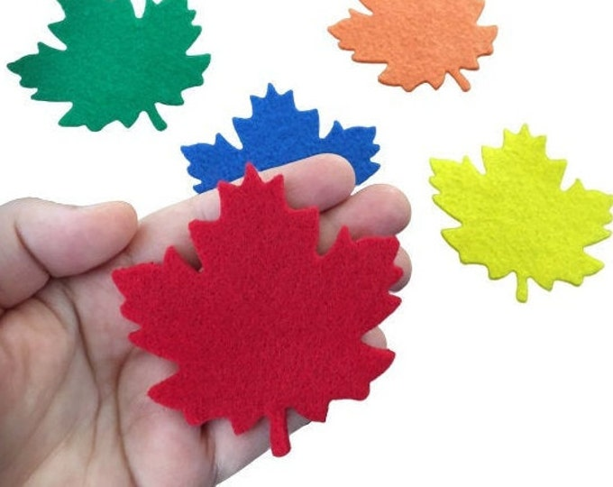 Autumn Felt Leaves, Maple Leaves, Multicolor, Fall Leaves for Art Scrapbooking, Wedding Decorations Party Thanksgiving Day Christmas Decor