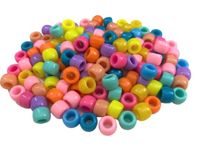 Bright Pastel Pony Beads, Rainbow Mixed Beads, Craft Beads Supplies, Classic Pony Beads for Jewelry Making, Classroom Beading Supply