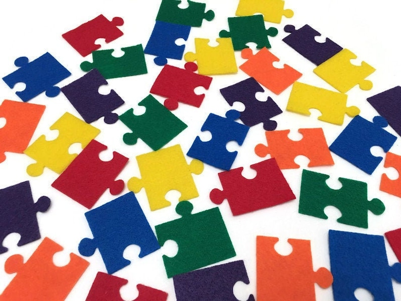 Autism Awareness Puzzle Piece Set Pack of 36 2 inch Rainbow image 0