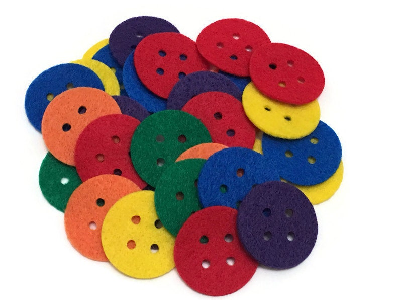 Pack of 24 Large Felt Buttons for Sewing and Crafts Projects image 0