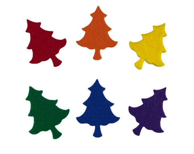 Christmas Tree Felt Shapes, Multicolor, Small Felt Trees for Ornaments, Classroom Decorations, Holiday Trees for Party, Gifting, Crafts