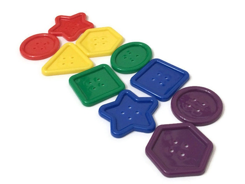 Pack of 10 Jumbo Buttons for Preschool Shaped Buttons for image 0