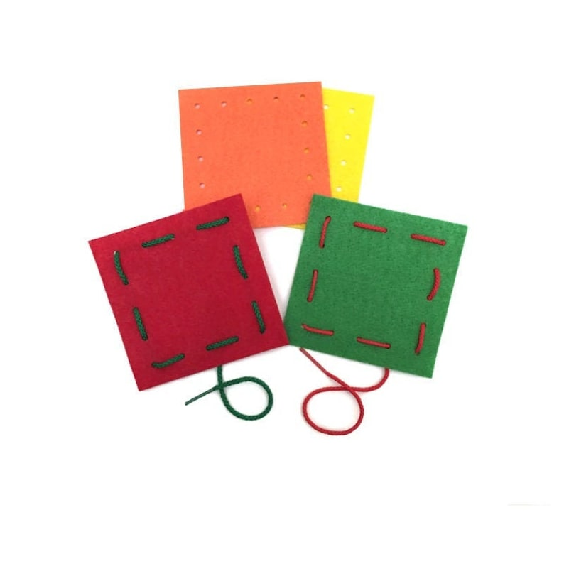 Lacing Activity Kit Set of 4 Felt Squares and 4 Laces Fine image 0