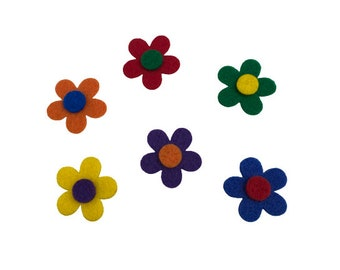 Pack of 12 Small Felt Flower Shapes, Rainbow Flowers for Crafts, Floral Decor, Multicolor Flowers for Scrapbooking, Card Making, Hair Crafts