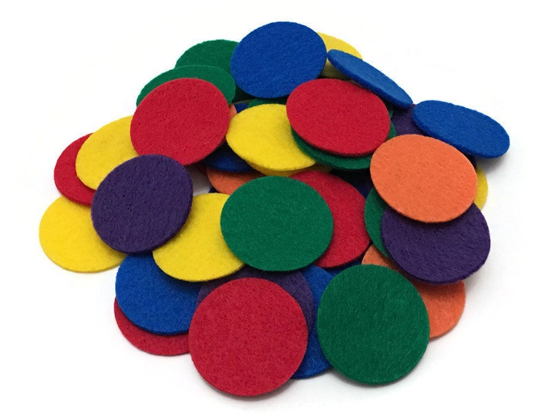 Pack of 54 Felt Math Counters for Kids 1.5 inches Rainbow image 0