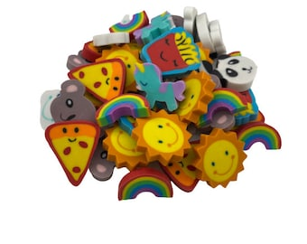 Pack of 40 Mixed Mini Erasers for Kids, Classroom Reward Erasers, Back to School Erasers, Kawaii Erasers, Cute School Teacher Supplies