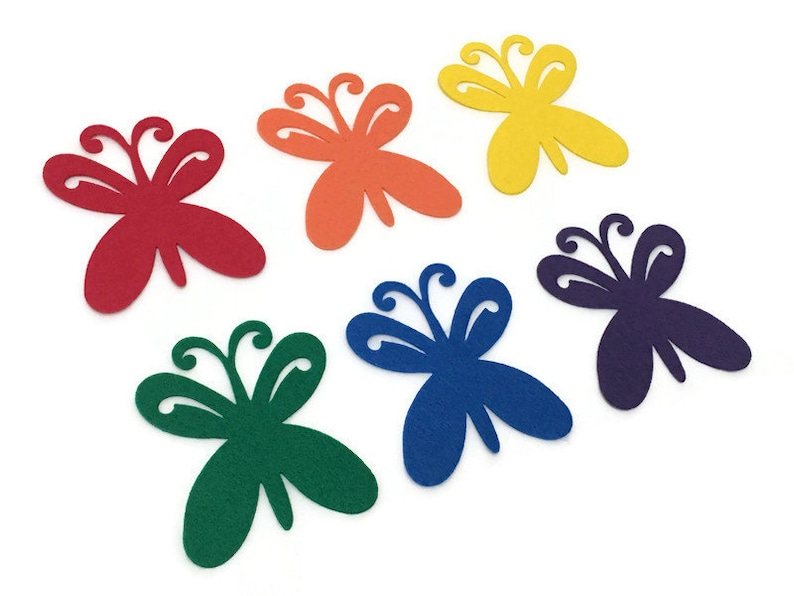 Pack of 6 Felt Butterflies Rainbow Colors Great for Felt image 0