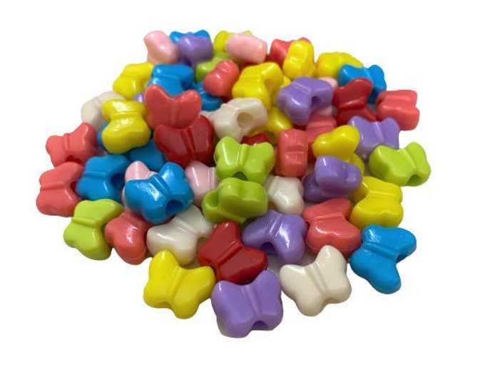 Butterfly Pony Beads for Crafts, Multicolor, Cute Butterfly Beads for Kids Crafts, Assorted Beads for Jewelry Making, Spring Craft Beads