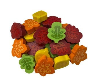 Pack of 20 Mini Fall Leaves Erasers, Leaf Shaped Erasers for Kids, Teacher Classroom Supply, Reward Erasers, Preschool Sorting Math Counter