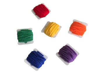Colorful Yarn Sample Set, 100% Acrylic Yarn in 6 Colors, 3 Yards of Each Color, Great for Arts and Crafts Projects, Classroom Art Supplies