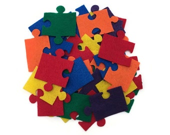 Autism Awareness Puzzle Pieces, 2 inch, Rainbow Color, Great for Autism Classrooms, Bulletin Board Decorations, Crafts Activities for Kids