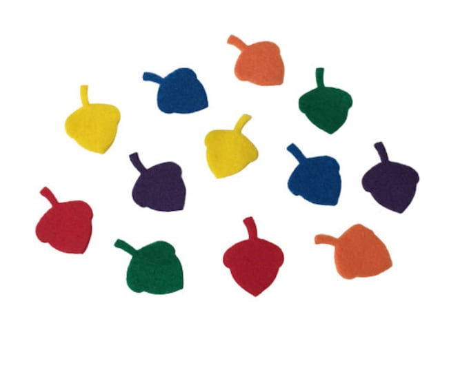 Felt Acorn Shapes, 1 inch, Multicolor, Fall Party Decorations, Crafts Supplies for Kids, Scrapbooking, Math Counters, Autumn Decor, Confetti