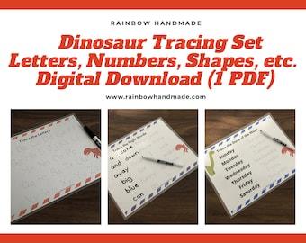 Dinosaur Tracing Worksheets Set, PDF Preschool Printables, Trace Alphabet Letters, Numbers, Shapes, Colors, Sight Words, PreK, Kindergarten