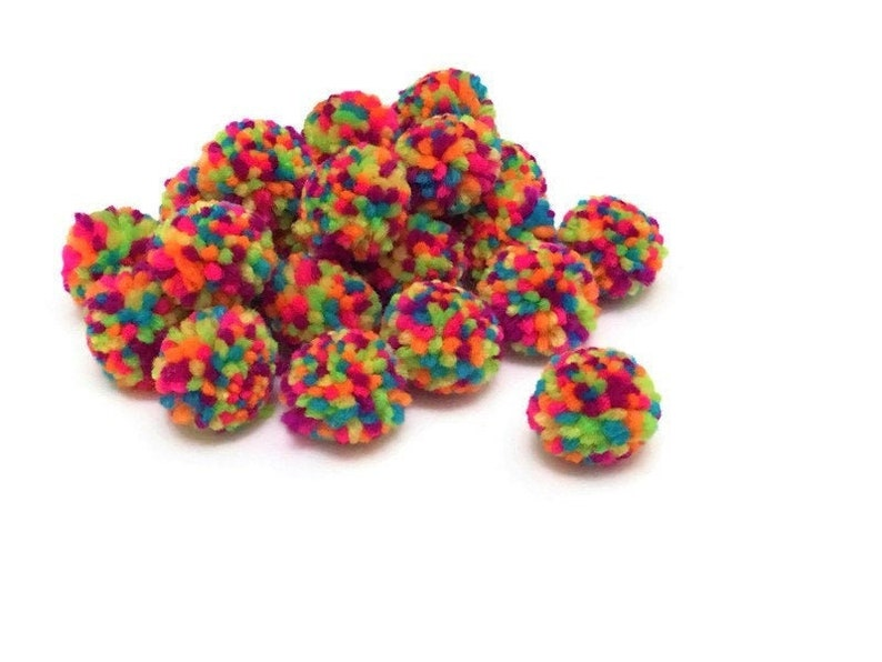 Yarn Pom Pom Balls Pack of 10 1 inch Rainbow Pom Pom for image 0