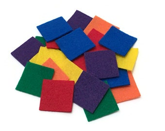 Felt Mosaic Squares, 1.5 inch, Rainbow Colors, Felt Square Shapes for Art & Craft Projects for Kids, Sewing, Scrapbooking, Collage