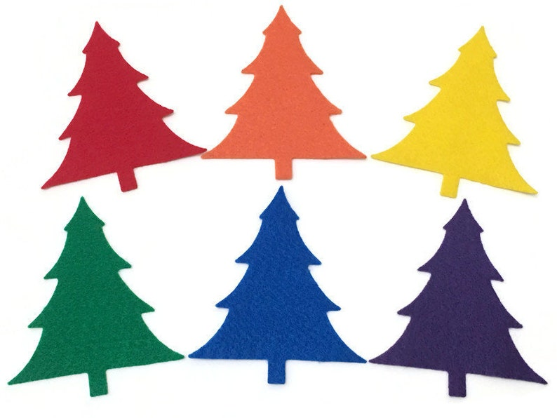 Pack of 6 Felt Christmas Trees Rainbow Pine Trees Shapes DIY image 0