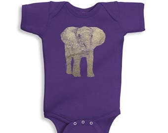 Elephant Baby Onesie, 10% Donated to Animal Causes, Baby One Piece, Baby Bodysuit