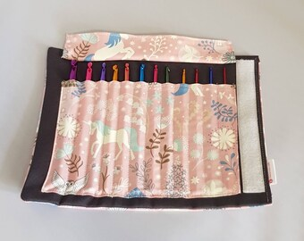 Unicorn Theme crochet  hook case with 12 crochet hooks.