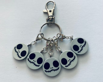 Set of 5 Halloween at Christmas Theme stitch markers, progress keepers.