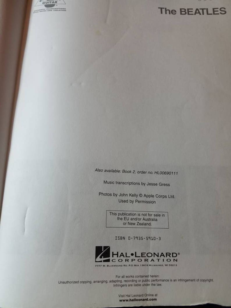 The Beatles White album Book 1 and Book 2 Sheet Music Books