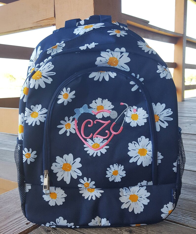 b2dfd99d4bc4 Nurse Backpack, Daisy Book Bag, Nursing Bag, Nursing Student, Clinicals  Bag, Organizer Bag, Monogrammed Nurse, RN Bag, Nursing School, CNA