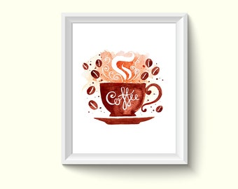 Coffee Watercolor Painting Poster Art Print P434