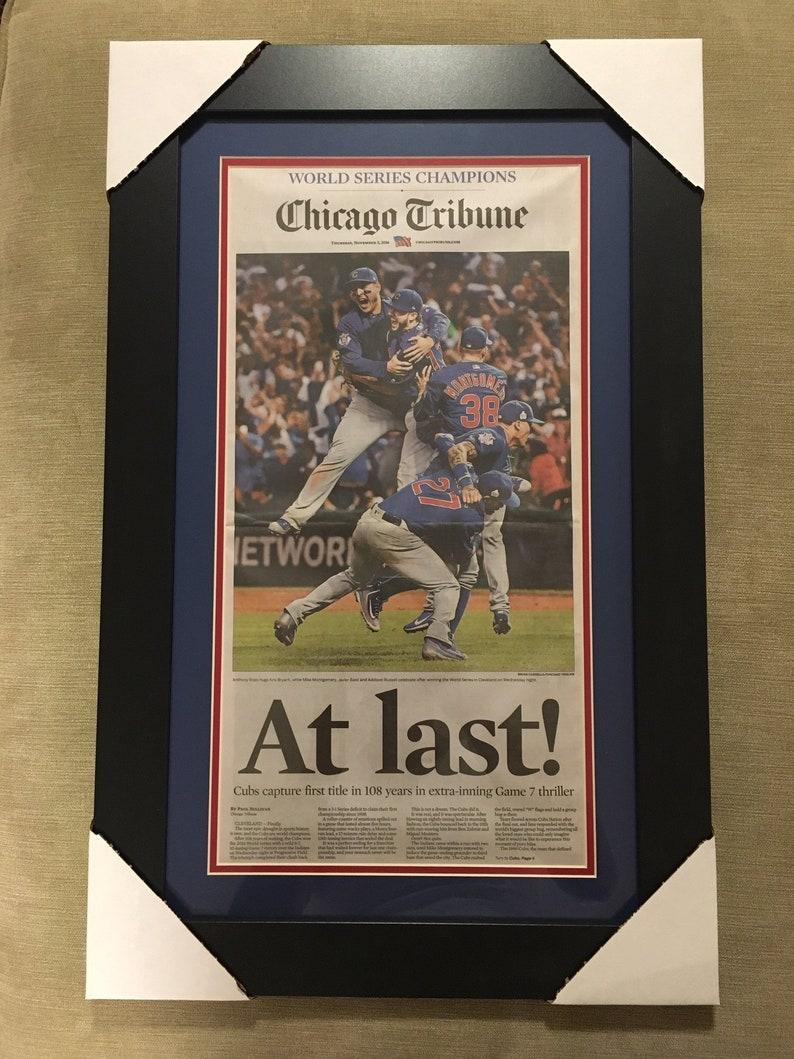 a0b7328314a Chicago Cubs Framed Tribune. NOT A PRINT. Actual Full