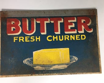 BUTTER Fresh Churned Vintage Faux Tin Cabin Kitchen Sign